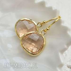 wyjątkowe prezenty, peach drops in gold, lekkie, wiszące, kryształ, złote