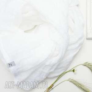 lniany szal chusta w kolorze białym, modny wiosenny, szal, szalik