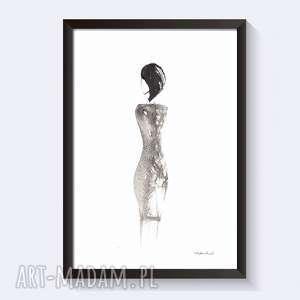 kobieta - grafika czarno-biała, ręcznie malowany czarnym tuszem, plakat