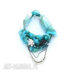 lazurowe wybrzeże naszyjnik handmade, naszyjnik, kolia, kolorowy, niebieski, lazur