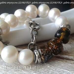 klasyka z wstawką bransoletka naturalnych pereł, bursztynu i srebra, perła