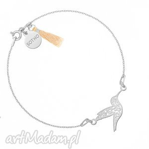 złota bransoletka z ażurowym kolibrem zdobiona, zawieszka, koliberek