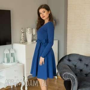Sofi sukienka rozkloszowana z długim rękawem, szafir sukienki
