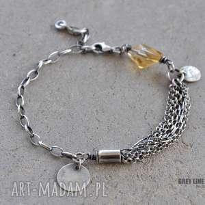 unikalny, bransoletka z cytrynem, srebro, cytryn, delikatna, mini, surowa biżuteria
