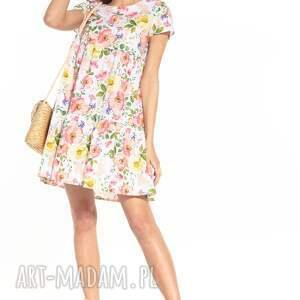 sukienka mini z dwoma falbanami i krótkim rękawem, t343, kolorowe kwiaty