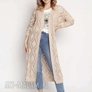 długi, swetrowy płaszczyk - pa012 beż mkm, kardigan, długi sweter, ażurowy
