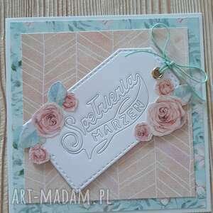 ręcznie wykonane kartki kartka spełnienia marzeń w kwiatach