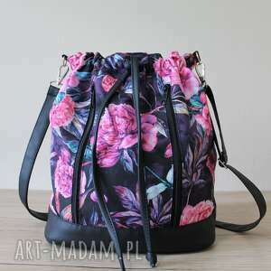 plecak worek torba - piwonie, worek, plecak, hobo, kwiaty, prezent
