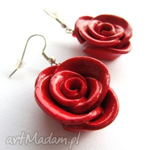 hand-made kolczyki kolczyki czerwone róże