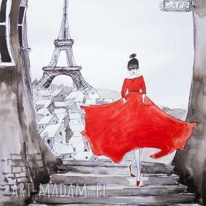 paryżanka akwarela artystki plastyka adriany laube, akwarela, eiffla, paryż, paryski