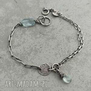 prosta srebrna bransoletka z akwamarynem, akwamaryn, srebro