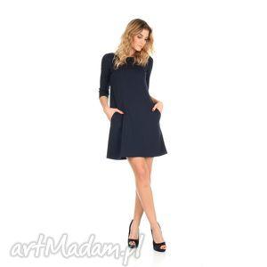 44 2-sukienka trapezowa,granatowa,krótka, lalu, sukienka, dzianina, trapez, kieszenie