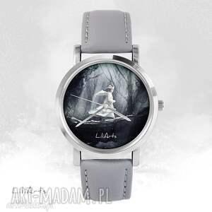 zegarek - magiczny las szary, skórzany, zegarek, bransoletka