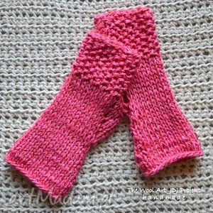 różowe mitenki - rękawiczki, różowe, włóczkowe, mitenki