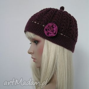 czapeczka z różą w kolorze marsala - czapka, kwiat, róża, ozdobna
