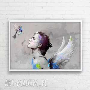 obraz na płótnie she niebieski 120x80 cm, obraz, plakat, dekoracje, dom, salon