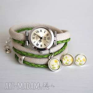komplet - wiesiołek zegarek i kolczyki, zegarek, komplet, kolczyki