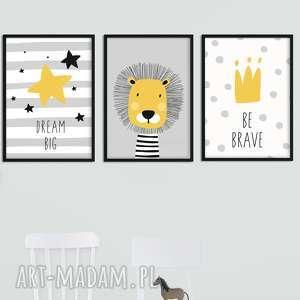 Zestaw 3 plakatów SZARY LEW A3, lew, paski, kropki, tryptyk, skandynawski, skandi
