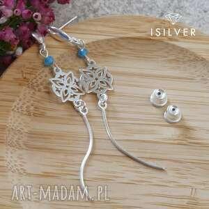 kolczyki srebrne rozety z apatytem, apatyt, srebrne, biżuteria autorska