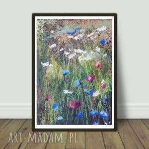 łąka-praca wykonana pastelami suchymi, pastele, łąka