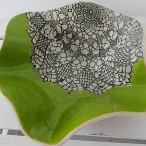 ceramika wywijana artystyczna misa, dekoracyjna, miska, koronkowa, owoce