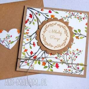 młodej parze - floral kartka ślubna, ślub
