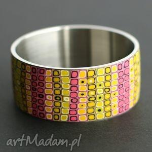 bransoleta z polymer clay i stali, bransoleta, bransoletki, różowy, kolorowe