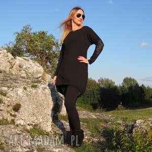 Czarna sukienka z haftowanymi rękawami, sukienka, dzianiny, bawełna, haftowana