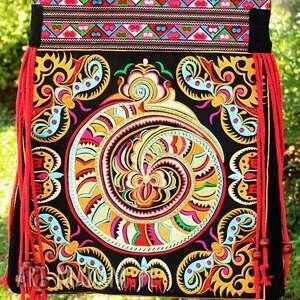 Prezent torebka etniczna haftowana miejska, mama, prezent, haft, wyszywana, etno