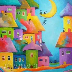 obraz na płótnie - bajkowe miasteczko 50/40 cm, abstrakcja, koty, akryl, bajka, domki