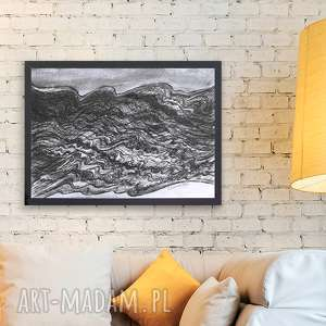 Czarno biały rysunek morze,fale obraz,biało czarny obraz z morzem,nowoczesny