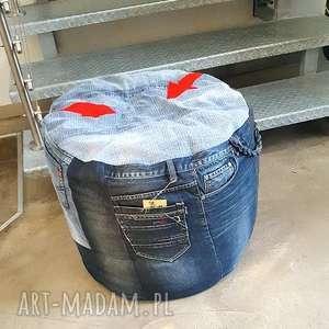 PUF JEANSOWY, puf, pufa, jeans, recykling, dżins, siedzisko