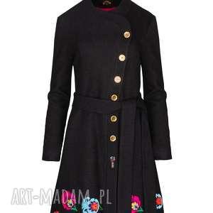 PŁASZCZ KRYSTYNA 2146, płaszcz-haftowany, płaszcz-wełniany, płaszczrozkloszowany