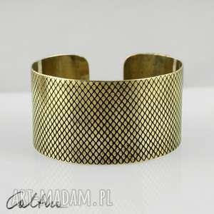 wężowa łuska - mosiężna bransoletka, bransoleta, szeroka, metalowa