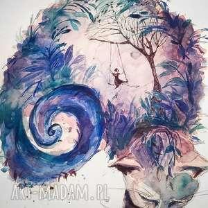 zakręcony kot akwarela artystki plastyka adriany laube, kot, huśtawka