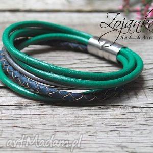 ręcznie zrobione zielono niebieska bransoletka z rzemieni