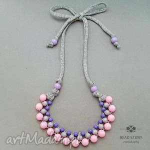 naszyjnik z korali szarych fioletowych różowych - korale, kolorowe, akryl, sznurek