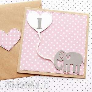 kartka na roczek - słonik, roczek, urodzinki, urodziny