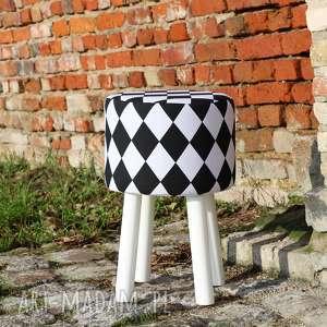 Pufa Arlekin 2 - Białe Nogi - 45 cm , puf, taboret, hocker, vintage, stołek,