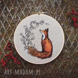 obrazek haftowany lis - brązowe dekoracje, góry, lisek