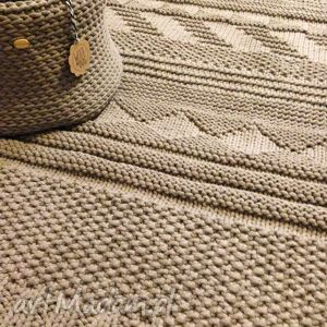 beżowy dywan ze sznurka bawełnianego, dywan, rękodzieło, carpet, bawełna, sznurek