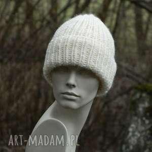 czapki 100 wool unisex ecru wywijana czapa, ciepła, wool, wełniana