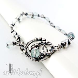 rime - srebrna bransoleta z akwamarynem - ekskluzywna, prezent kobieca