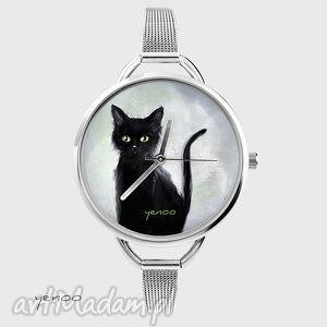 zegarek, bransoletka - czarny kot - szary - zegarek, modny, bransoleta, kotek, prezent