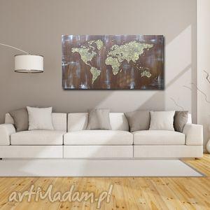 obraz ręcznie malowany MAPA ŚWIATA 3D - 17 -152x84cm, mapa, świata, brązowa, brąz, 3d