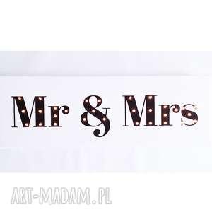 ślub świecący napis mr & mrs prezent dekoracja młoda para wesele