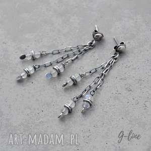 Kamień księżycowy. Wiszące srebrne kolczyki na sztyftach., kamień-księżycowy, srebro,