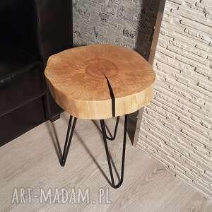 ręcznie zrobione stoły stolik kawowy, plaster brzozy, czarna żywica
