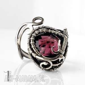 Prezent Folium I srebrny pierścień z ametystem , wirewrapping, ametyst, srebro