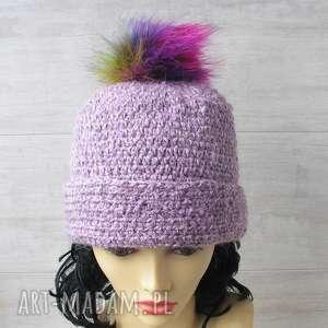 czapki szydełkowe lawenda melanż, czapka szydełkowa, z pomponem, zimowa
